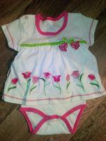 Бодик - платье для новорожденных на девочку 0-3 месяцев