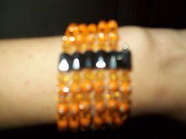 Bransoletka pomarańczowo czarna na magnes