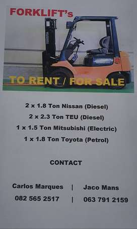 Forklifts for sale to rent