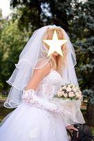 Свадебное платье, кольца под платье, перчатки + подарок