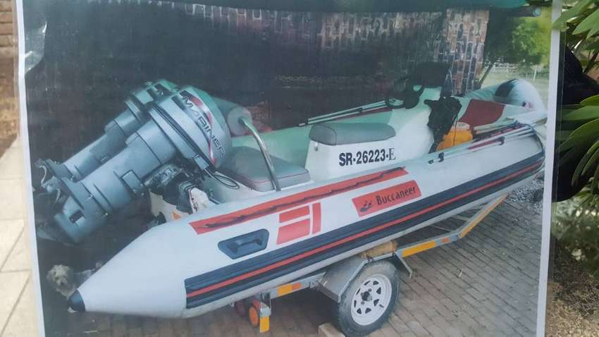 Buccuneer Gemini rubberduck with 2 x 25hp Mariners for sale 0