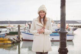 Белое стильное пальто Zara