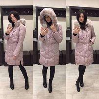 Теплое зимнее пальто куртка пуховик длинное розовое р. 44 46