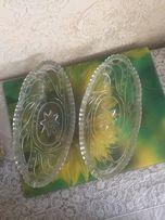 Салатница, конфетница, ладья, стеклянная СССР 2-е штуки. Обмен