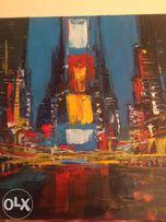 """Картина """"Нью Йорк"""" на холсте,масло, 60х60 см, в рамке"""