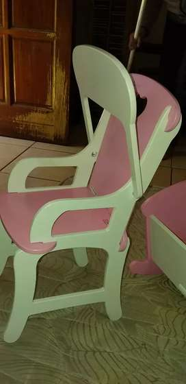Selling doll high chair wood and cot wood