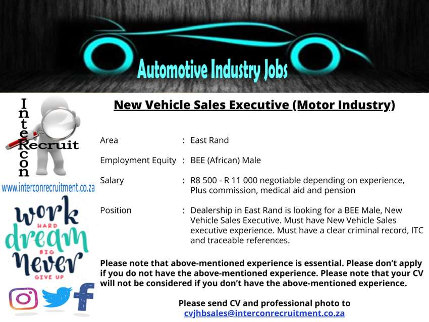 New Vehicle Sales Executive (Motor Industry) East Rand 0
