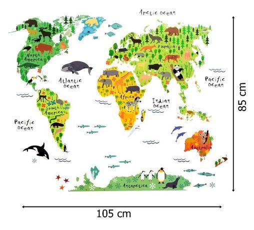 Naklejki ścienne na ścianę Mapa Świata dla dzieci WS-0180 Łódź - image 3