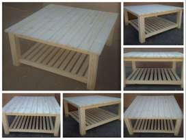 Coffee table Cottage series 1100 square with shelf - Raw