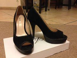 Eleganckie czarne buty na obcasie i platformie na wesele/studniówkę