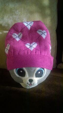Różowa czapka w serduszka na dziewczynkę 9-11 lat Podłęże - image 1