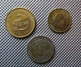 1962 20c; 1961 1c; 1961 1/2c South African Coins