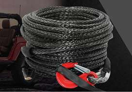 Black Synthetic Winch Rope With Hook, 10mmx30m, 10,000 Lb.