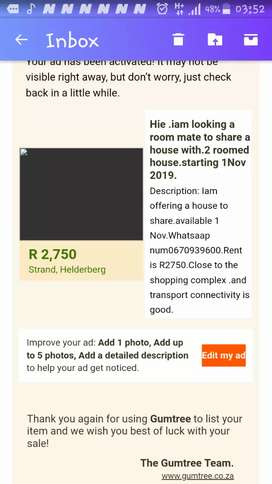2 bedroomed house to share with