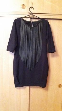 Черное платье с кожаными вставками 38/44/m Харьков - изображение 1