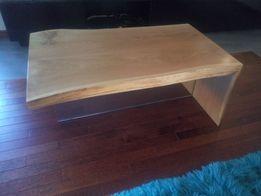 Unikalny stolik-ława dąb + szkło