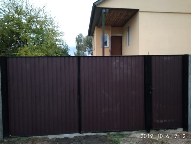 Ворота, Калитки, Заборы с металопрофиля, Бетонные заборы.