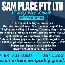 You can now Register a Company with SAM PLACE PTY SAME DAY DELIEVRY