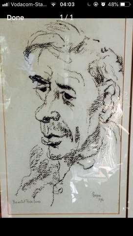 Framed Gregoire Boonzaaier Charchoal Drawing