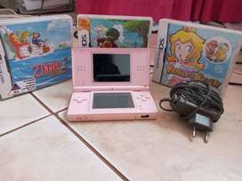 Nintendo DS Lite Pink + 3 Games In Good Condition
