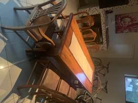 Sleeper Wood table and solid wood chairs