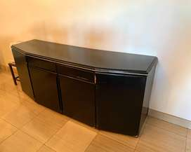 Black Wooden Table with Cupboards and Drawers