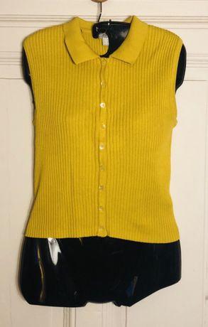 Bluzka sweter bez rękawów musztardowy żółty M/38 guziki Bydgoszcz - image 2
