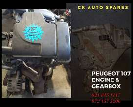 Peugeot 107 engine and gearbox for sale