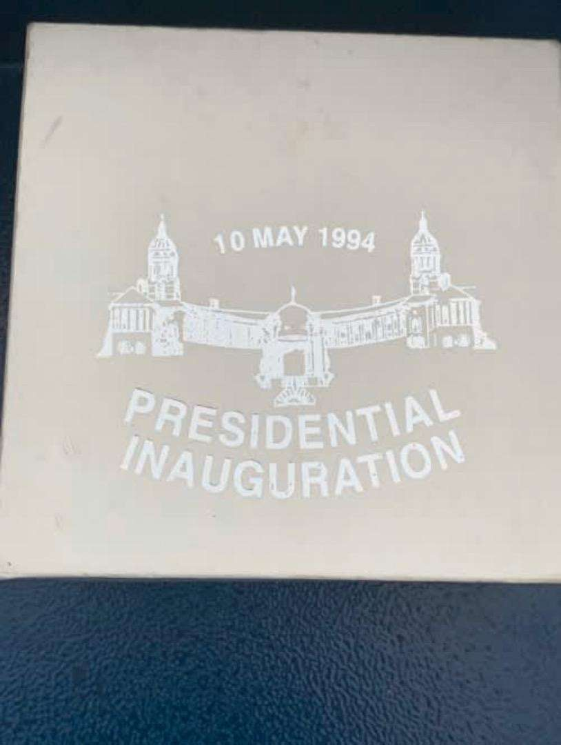Mandela inauguration attendees silver coin box 0