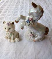 Figurki porcelanowe - Kotek i jednorożec