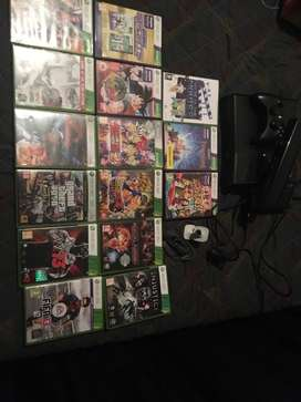 XBOX 360 + KINECT +14 GAMES +CAMERA ACCESSORY+ 360 REMOTE TV CONTROL