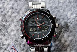 NOWY Męski masywny zegarek Naviforce srebrny bransoleta stoper LED