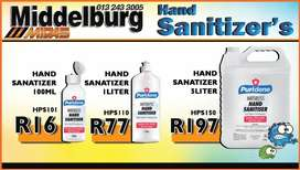 Wide Variety of hand sanitisers available at Middelburg Midas!