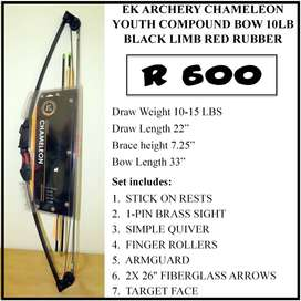 NEW CHAMELEON YOUTH COMPOUND BOW 10LB BLACK LIMBS RED RUBBER