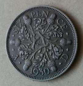 Nice condition 1930 British silver sixpence