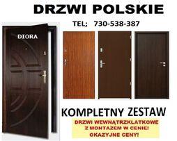 POLSKIE, drzwi wewnętrzne-lokalowe.ZEWNĘTRZNE z montażem.WEJŚCIOWE