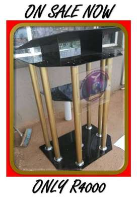 6 Leg Gold Pulpit with Black Perspex Top And Base