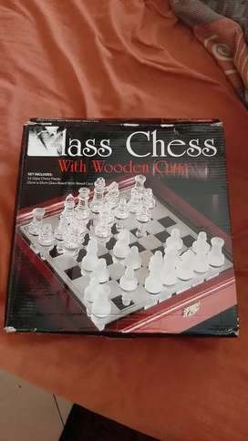 Glass and wooden chess set