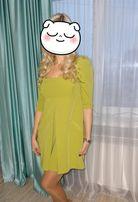 Нарядное праздничное красивое оливковое платье для беременных 46