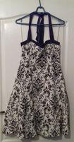 Biało czarna sukienka wiązana na szyi Ruby Rox r. 11 (40/42)