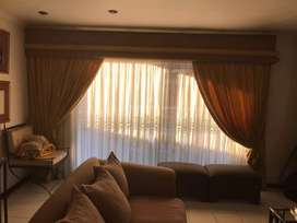 Old gold curtains to fit an area 4mx2.2m and 2.2mx2.2m incl pelmets