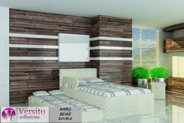 Łóżko piętrowe-niskie z dwoma materacami w zestawie,tapicerowane