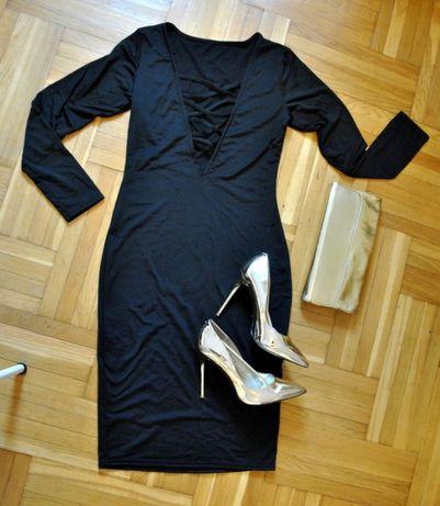 czarna obcisła sukienka z sexy głębokim dekoltem nowa 36 38 40 sylwest Elbląg - image 2
