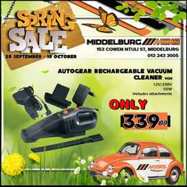 Autogear Rechargeable Vacuum Cleaner ONLY R339 at Middelburg Midas!