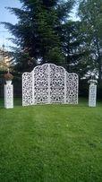 Весільні аксесуари ширма з ажурними тумбами, арка,мольберт.