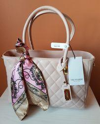 TRUSSARDI COLLECTION бежевая кожаная женская сумка Cortanze