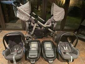 Twin pram, two car seats with two Isofix bases