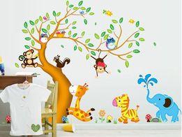 Naklejki na ściane ścienne Drzewo Zwierzęta Słonik WS-0154