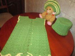 Продам детское ажурное вязаное платье с шапочкой или беретом