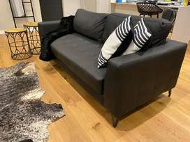 @home Black Leather Couch